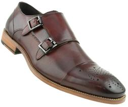 Men's Genuine Calf Leather Dress Shoes, Double Monk Strap Fo