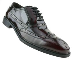 Asher Green Mens Burgundy Genuine Box Calf Leather Wingtip D