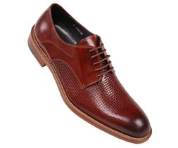 Asher Green Mens Burgundy Genuine Woven Buffalo Leather Lace