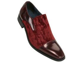 Amali Mens Burgundy Red Smooth and Croco Velvet Slip On Dres