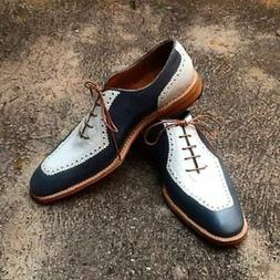 Mens Casual Leather Dress Shoes Wing Tip Handmade Genuine Le