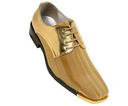 Bolano Mens Classic Oxford Striped Satin Dress Shoe w/ Gold