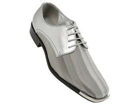 Bolano Mens Classic Oxford Striped Satin Dress Shoe w/Silver