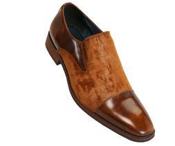 Amali Mens Cognac Brown Smooth and Croco Velvet Slip On Dres