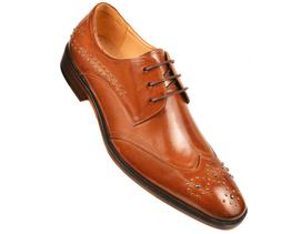 Asher Green Mens Cognac Leather Wing Tip Oxford w/ Stud Deta