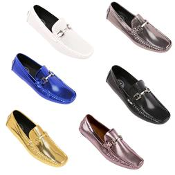 Amali Mens Designer Dress Loafers Breathable Mettalic Slip O