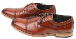 Stacy Adams Mens Dickinson Oxford Cognac Leather Dress Shoes