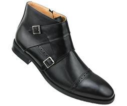 Amali Mens Dress Shoe Double Monk Strap Cap Toe Demi Boot In