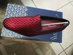 Amali Mens Dress Shoe Red. Zig Zag Patterned Slip On Tuxedo