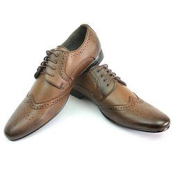 Mens Dress Shoes Brown Bravo Klein 4 Wing Tip Leather Lining