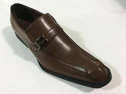 Mens Dress Shoes AMALI Brown Smooth with Buckle Leather Look