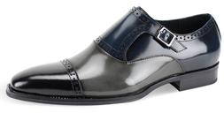 Mens Dress Shoes Cap Toe Monk Strap Black/Gray/Navy Leather
