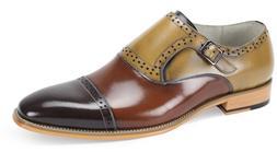 Mens Dress Shoes Cap Toe Monk Strap Ch. Brown/Light Brown/Na