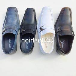 Mens Dress Shoes Casual Loafers Elastic Slip On Fashion Buck