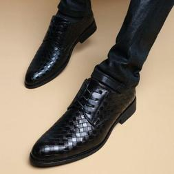 Mens Dress Shoes Lace-Up Faux Leather Business Low Heels Oxf