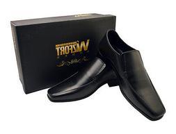 Wizfort Mens Dress Shoes, Leather Sole Slip On Shoes, Black