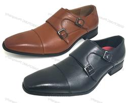 Mens Dress Shoes Monk Strap Slip On Loafers Cap-Toe Leather