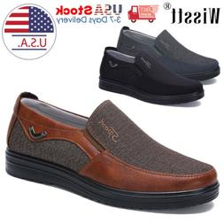 Mens Dress Shoes Slip on Driving Canvas Leather Casual Boots