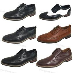 Mens Dress Shoes Wingtip Lace Up Leather Line Oxfords Brogue