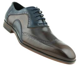 Men's Two Tone Dress Shoes, Genuine Leather Wingtip Oxford S