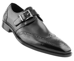 Men's Monstrap Dress Shoes, Genuine Leather Wing Tip Dress S
