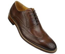 Asher Green Mens Genuine Leather Burnished Wingtip Oxford :