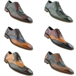 Asher Green Mens Genuine Leather Perforated Wingtip Oxfords