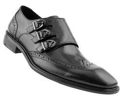 Men's Genuine Leather Dress Shoes, Formal Mens Triple Monk S
