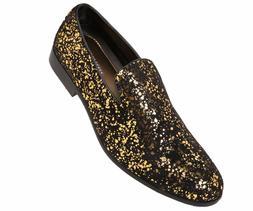Amali Mens Gold & Black Splatter Metallic Slip-on Dress Shoe
