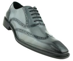 Asher Green Mens Grey Genuine Leather Wingtip w/ Burnished D