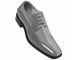 Viotti Mens Grey Patent Dress Oxford W/ Striped Satin Shoe S