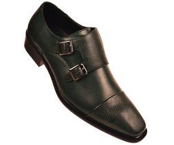 Bolano Mens Hunter Green Double Monk Strap Dress Shoe Pebble