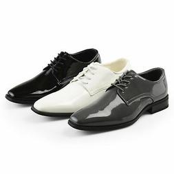 Daxx Mens Lace up Faux Leather Regular and Wide Width Tuxedo