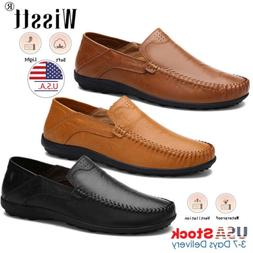 Men's Leather Driving Loafers Dress Shoes Casual Slip On F