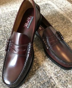 Florsheim Mens Leather Loafers Size 9 Burgandy Slip On Rubbe
