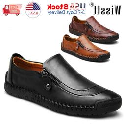 Mens Leather Shoes Casual Round Toe Loafers Wedding Formal D