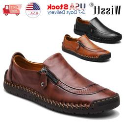 mens leather zipper shoes breathable antiskid loafers