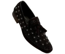 Amali Mens Metallic and Studded Smoking Slipper Loafer Dress