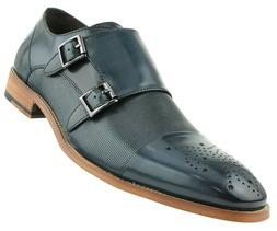 Asher Green Mens Navy Genuine Leather Double Monkstrap w/ Ca