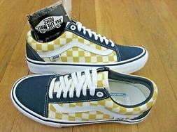 Vans Mens Old Skool Pro Checkerboard Dress Blue Yellow Skate