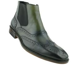 Asher Green Mens Olive Double Gore Leather Wingtip Dress Boo