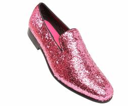 Amali Mens Pink Sparkling Glitter Slip On Tuxedo Dress Shoe: