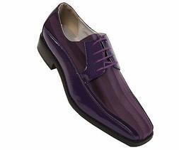 Viotti Mens Purple Patent Dress Oxford W/ Striped Satin Shoe