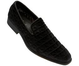 Amali Mens Quilted Velvet Smoking Slipper Dress Shoe : Style