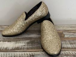 Men's Enzo Romeo Gold Glitter Dress Loafers Slip On Classi