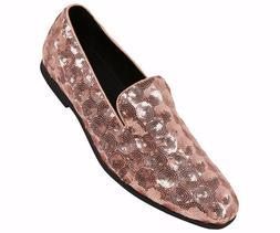 Amali Mens Rose Gold Sequin Circle Patterned Dress Shoe Loaf