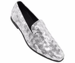 Amali Mens Silver Sequin Circle Patterned Smoking Slipper Dr