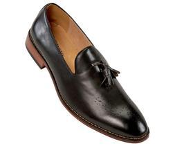 Amali Mens Slip On Dress Shoes w/ Burnished Slip & Embossed