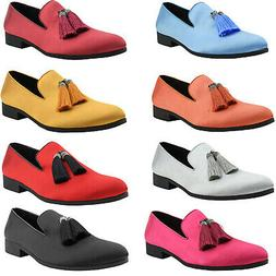 Amali Mens Smoking Slippers Tuxedo Slip On Dress Shoes Satin