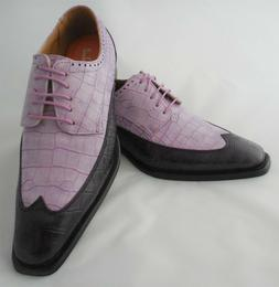 Mens Stylish Purple Lilac Two-Tone Wingtip Dress Shoes Anton